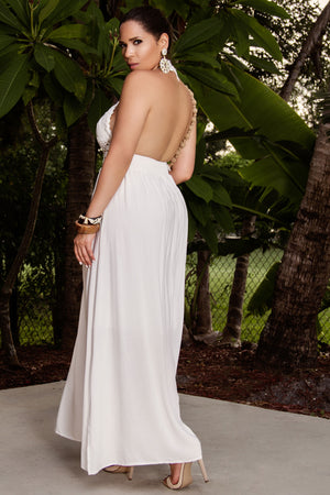 Kendra Backless Bohemian Halter Maxi Crochet Long Dress