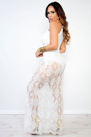 Kennedy White Sheer Flower Lace Sleeveless Halter Crop Two Piece Maxi Dress