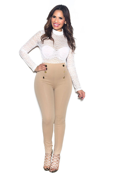 Khaki High Waist Gold Button Accent Pants - MY SEXY STYLES  - 2