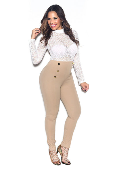 Khaki High Waist Gold Button Accent Pants - MY SEXY STYLES  - 3