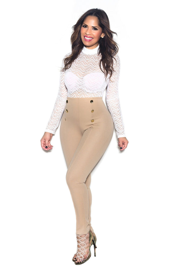 Khaki High Waist Gold Button Accent Pants - MY SEXY STYLES  - 1