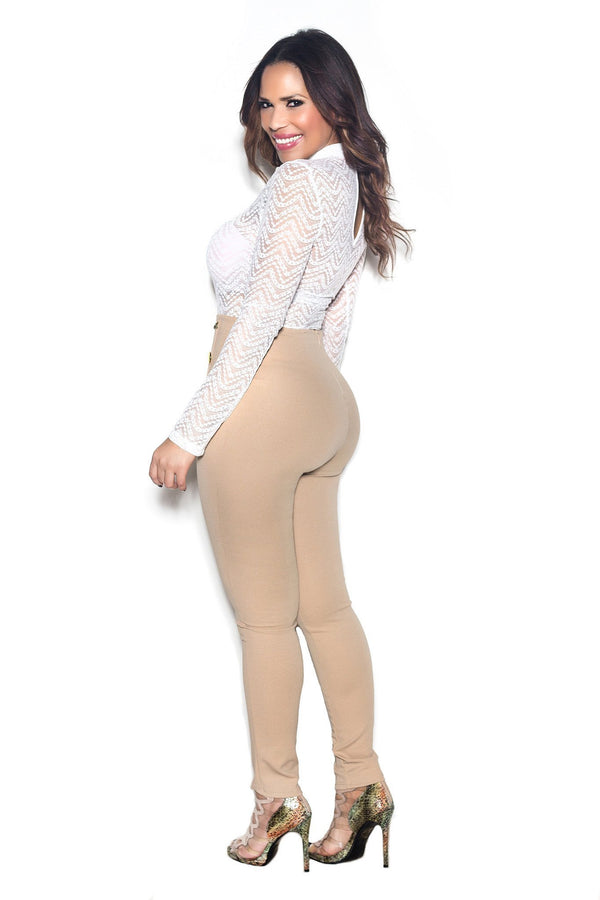 Khaki High Waist Gold Button Accent Pants - MY SEXY STYLES  - 4