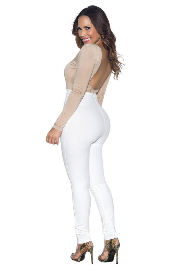 Khaki Open Back Long Sleeve Cut Out Bodysuit - MY SEXY STYLES  - 4