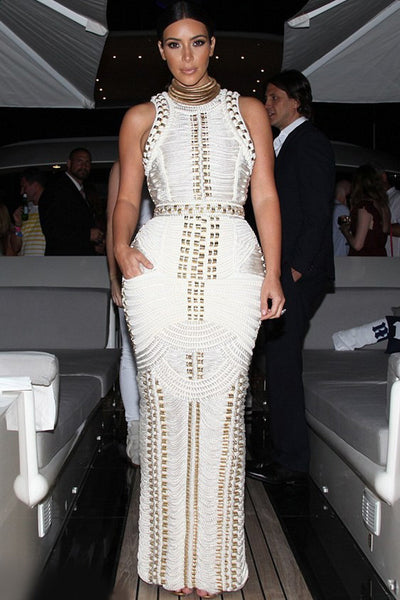 White Bandage Gold Accent Sleeveless Bodycon Maxi Dress - MY SEXY STYLES  - 4