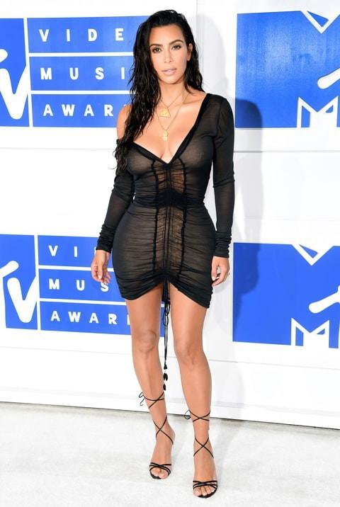 Kim Kardashian Inspired Black on Nude Ruched Mini Dress - MY SEXY STYLES