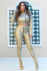 Krystal Golden Faux Leather Snake Print Slim Leg Pants and Jacket Set