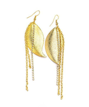 LEAF SHAPE CHAIN TASSEL EARRINGS