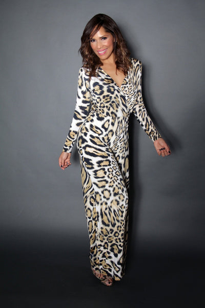LEOPARD PRINT V-NECKLINE LONG SLEEVE WIDE LEGS JUMPSUIT - MY SEXY STYLES