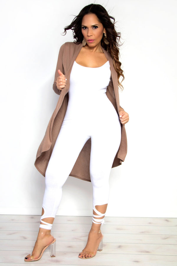 Ankle Lace Up Tank Catsuit Jumpsuit in White