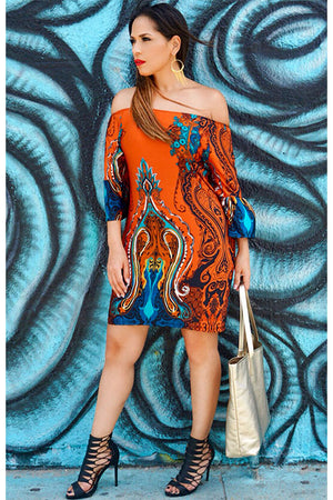 LYDIA RUST TEAL PRINT OFF SHOULDER DRESS
