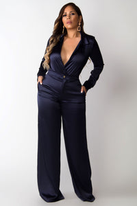 Lady in Midnight Blue Sophisticated Boutique Two Piece Set
