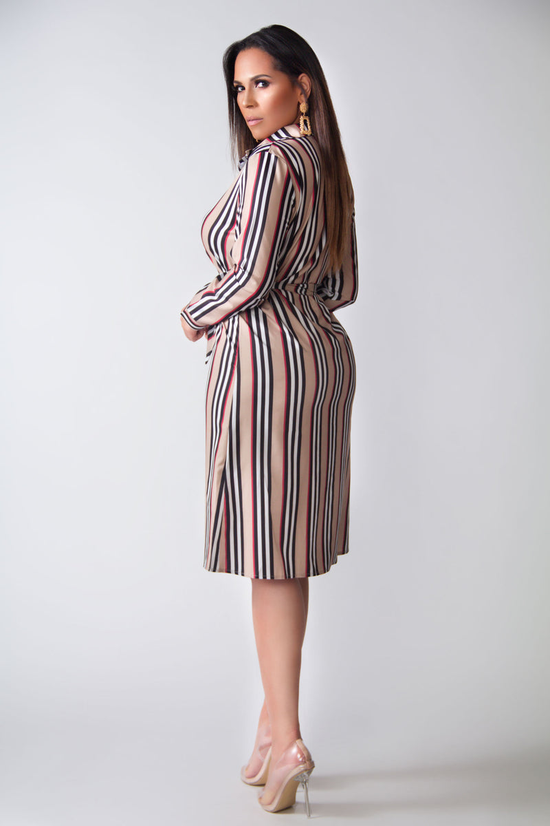Laila Striped Belted Long Sleeves Classy Shirt Dress