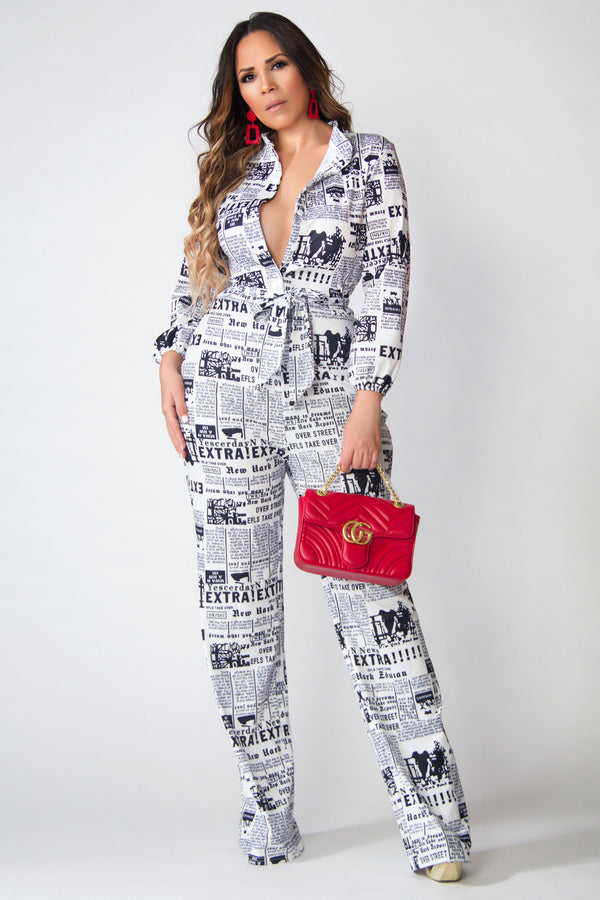 Lauren Newspaper Print Tall Belted Jumpsuit