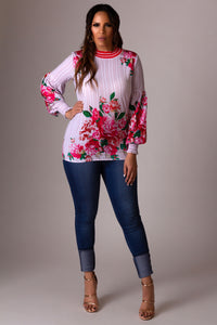 Leia Floral Print Loose Cuffed Long Sleeves Blouse