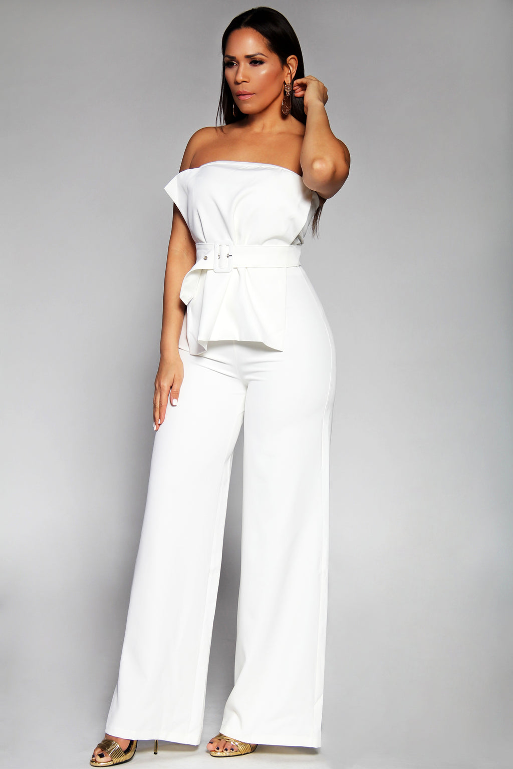 Leilani Elegant Strapless Belted Two Piece Belted Pant Set