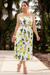 Lemon Print Crop Top Maxi Skirt 2 Piece Set Dress