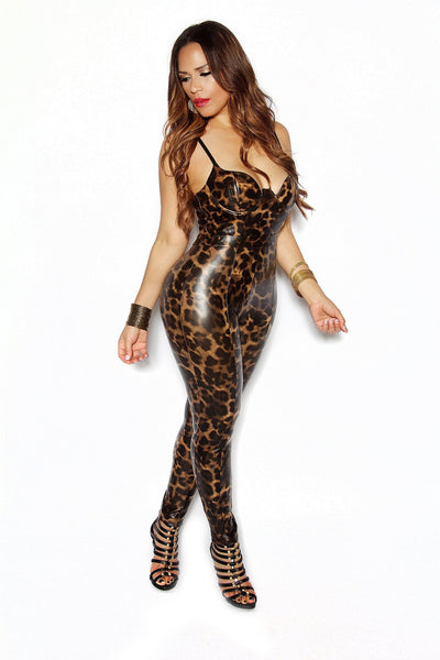 Leopard Print Bustier Bodycon Faux Leather Jumpsuit