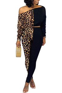 Matilda Color Block Leopard Print Crop Top Bodycon Pants Tracksuit