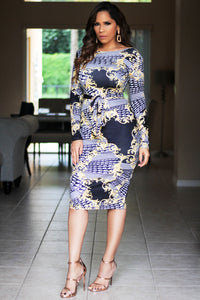Lexi Baroque Print Long Sleeves Bodycon Dress W/ Waist Tie