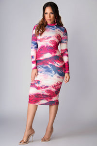 Lia Mock Neck Long Sleeves Watercolor Print Midi Dress