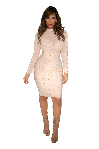 Light Blush Long Sleeve Sexy Bandage and Mesh Dress W/ Golden Studs - MY SEXY STYLES