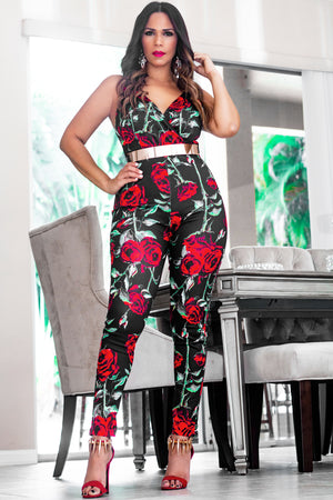Lillian Black V-Neck Floral Print Jumpsuit (Belt Included)