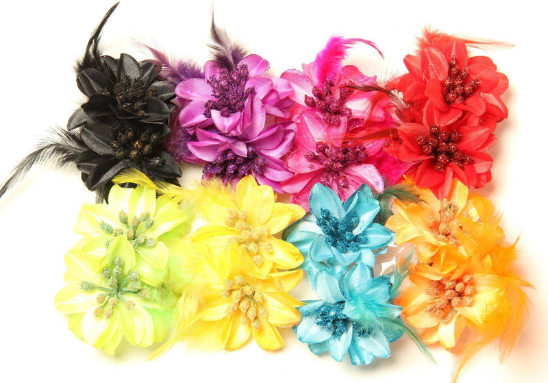 Lily and Feathers Hair Clips