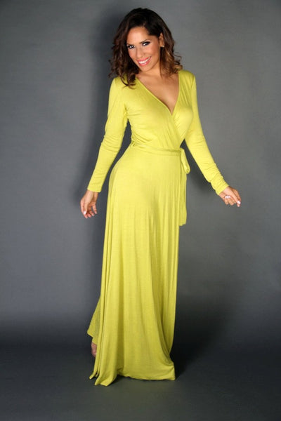 Lime V-Neck Long Sleeves Maxi Dress W/ Slit and Waist Tie - MY SEXY STYLES