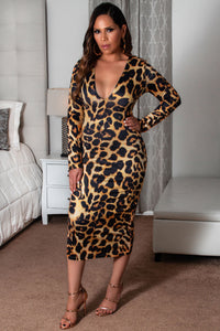 Lina Leopard Print Long Sleeves V-Neck Bodycon Dress