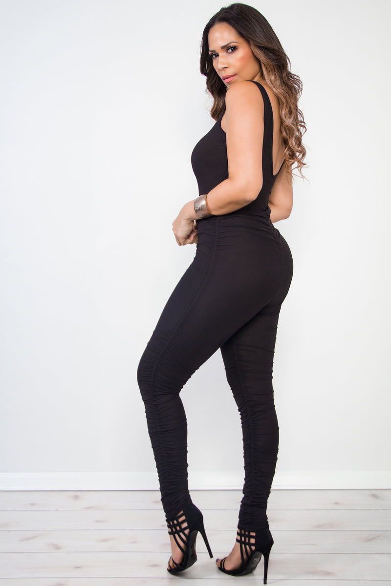 Linet Black Ruched Bodycon Jumpsuit