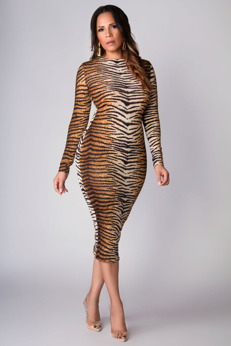 Lola Long Sleeves Bodycon Animal Print Sexy Midi Dress