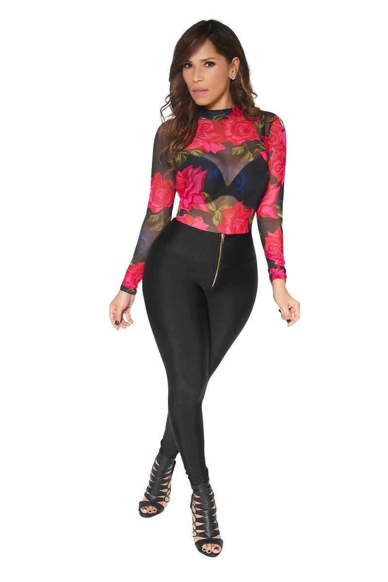 Long Sleeved Flower Print Bodysuit in Black - MY SEXY STYLES