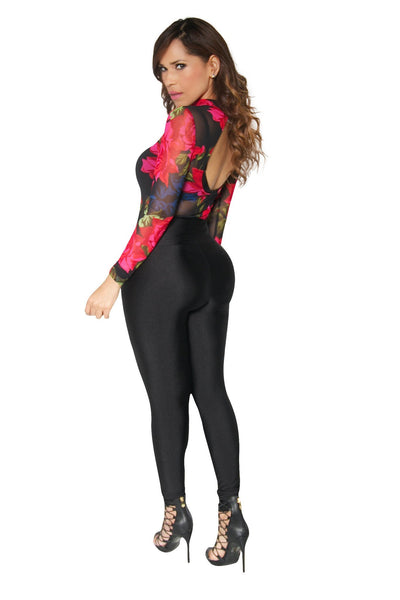 Long Sleeved Flower Print Bodysuit in Black - MY SEXY STYLES  - 3