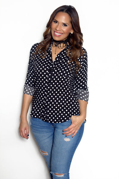Long Sleeve Button Down Polka Dot Shirt - MY SEXY STYLES  - 1