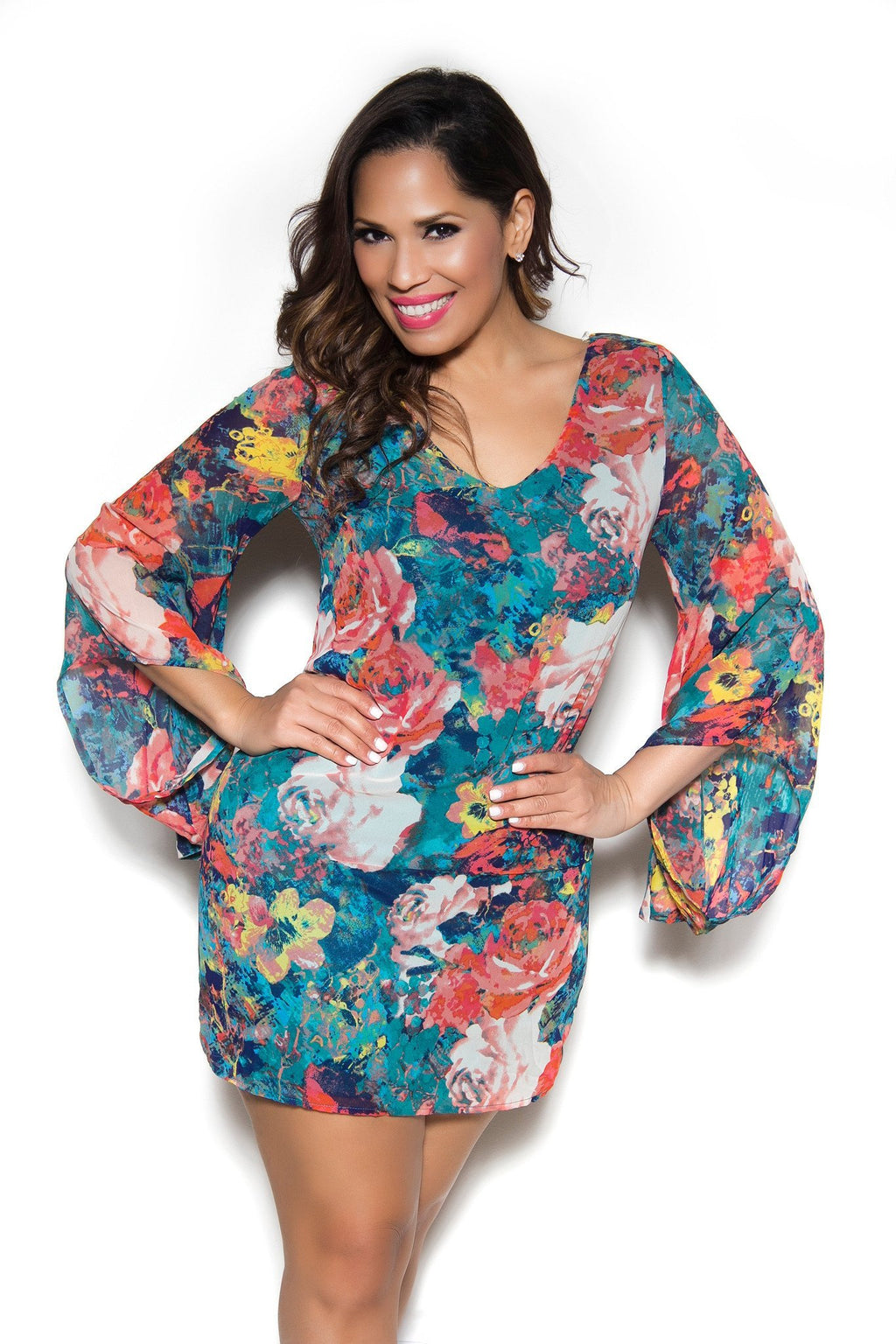 Long Sleeved Teal Flower Print Chiffon Dress - MY SEXY STYLES