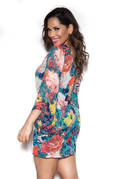 Long Sleeved Flower Print Schiffon Dress - MY SEXY STYLES  - 2