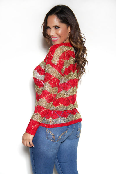 Long Sleeved Red Gold Sweater Top - MY SEXY STYLES  - 2