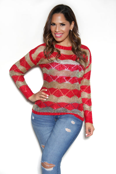 Long Sleeved Red Gold Sweater Top - MY SEXY STYLES  - 1