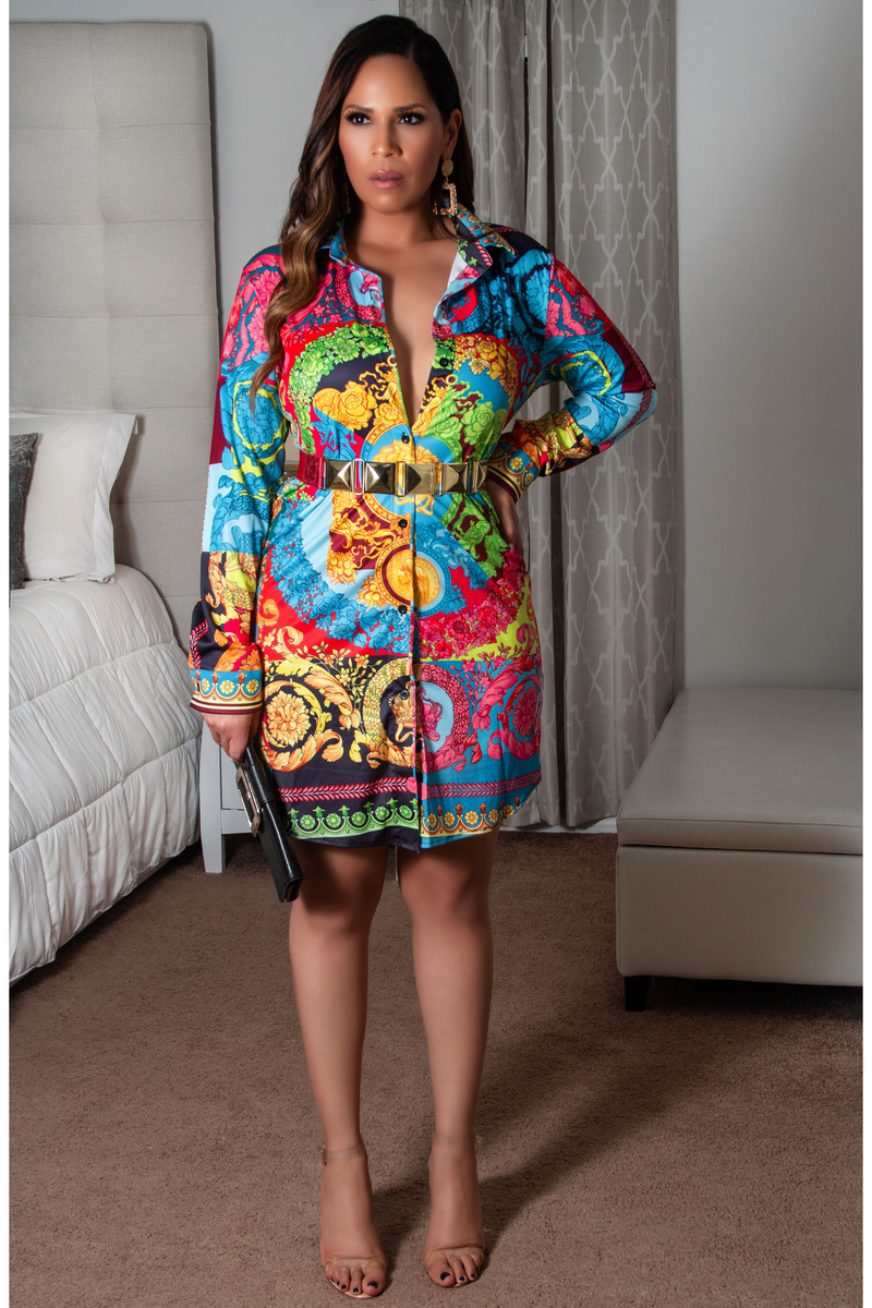 Lori Button Down Long Sleeves Colorful Retro Print Shirt Dress