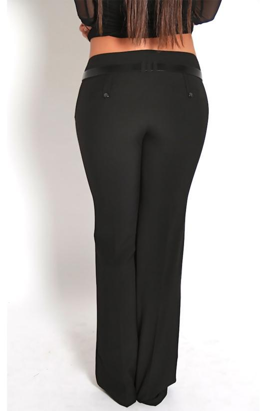 Low Waisted Black Belted Dress Pants