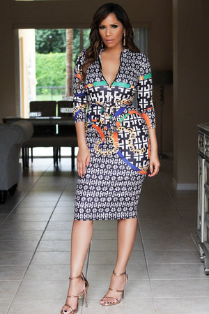 Luciana Chain Print Quarter Sleeves Bodycon Dress W/ Waist Tie