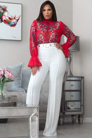 Lucy Red Embroidered Chiffon Long Bell Sleeves Blouse