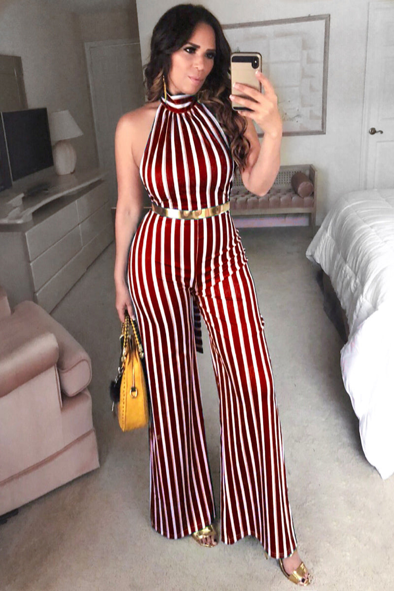 Luz Stripe High Neck Flared Wide Leg Jumpsuit with Gold Belt -Red