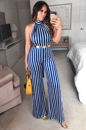 LUZ STRIPE HIGH NECK FLARED WIDE LEG JUMPSUIT WITH GOLD BELT - BLUE