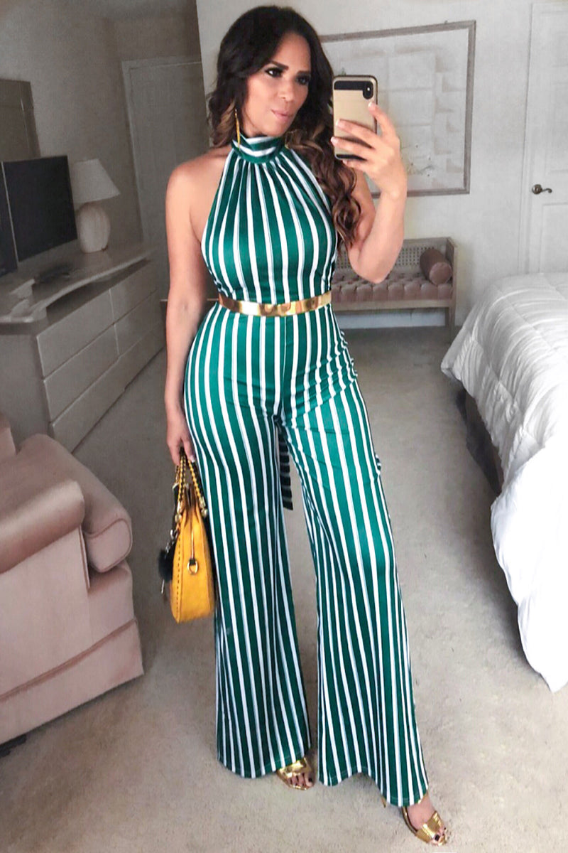 Luz Stripe High Neck Flared Wide Leg Jumpsuit with Gold Belt - Green