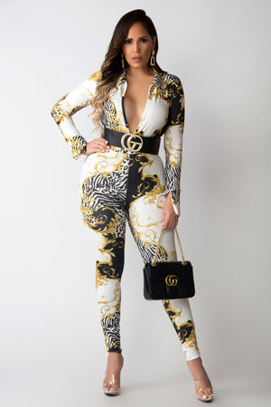 Lydia Baroque Print Sexy V-Neck Long Sleeves Bodysuit and Leggings Set