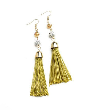 MULTI STONE TASSEL DROP EARRINGS