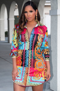 Maia Button Down Retro Print Colorful Long Sleeve Shirt Dress