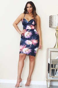 Makayla Sexy Flower Print V-Neck Bodycon Cocktail Midi Dress