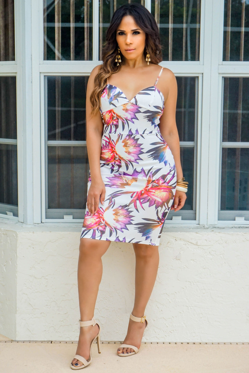 Makayla Sexy Flower Print V-Neck Bodycon Cocktail Midi Dress in Ivory